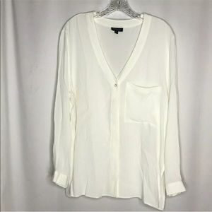TopShop V Neck Button Front Blouse Size 10